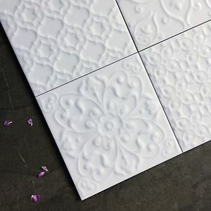 MARAZZI White Gloss victorian patchwork with raised pattern wall ...