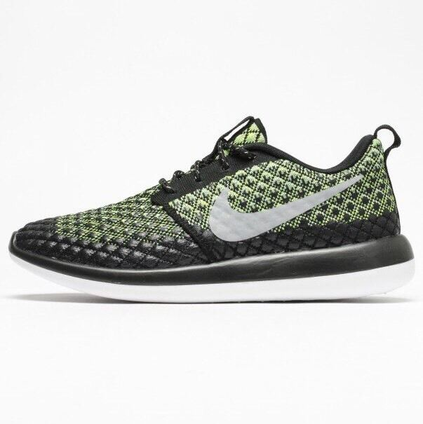 best service 8b298 d0ddc NIKE ROSHE RUN 2 FLYKNIT 365 TWO - BLACK/VOLT GREEN 859535 700 - UK 6, 7,  8, 9
