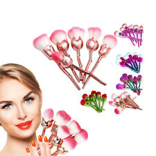 6pc Beauty and the Beast-Inspired Rose Makeup Brushes with Glossy Handles