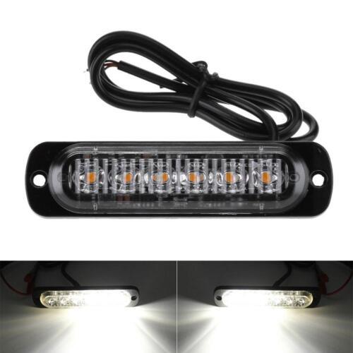 6LED Auto LKW Frontblitzer Blitzlicht Warnleuchte KFZ Strobe Licht 12-24V Weiß