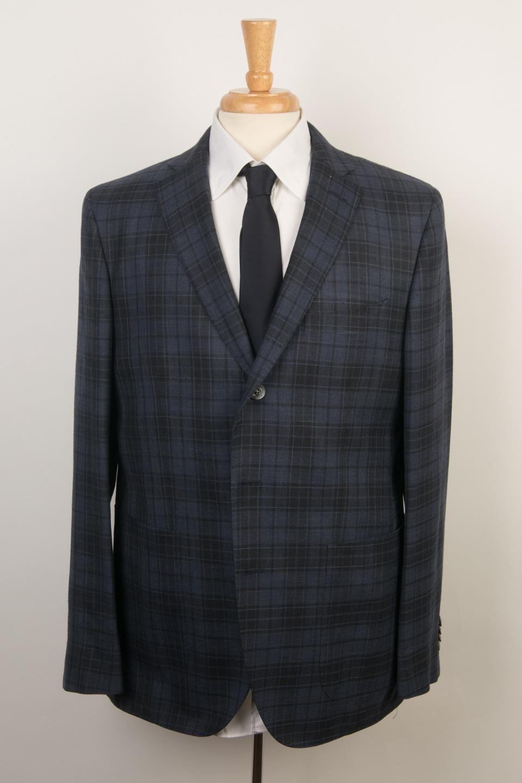 Boglioli 'Hampton' bluee Tonal Plaid Wool Silk Linen 3 Button Sport Coat 54 IT 44