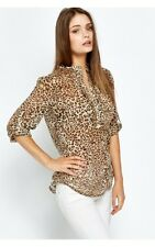 BNWT Size Small Ladies Zara Leopard Animal Print Chiffon Blouse/Top