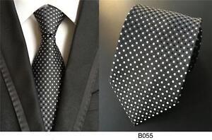 Bianco-Nero-Cravatta-a-Pois-con-Motivo-Artigianale-100-Seta-Matrimonio-Cravatta