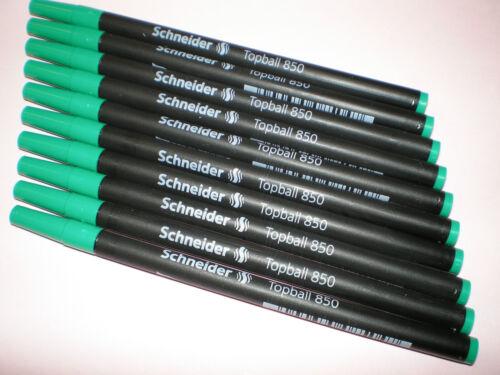 1 Pck = 10 Stk Schneider Topball 850 M grün 0,5mm Tintenroller-Mine 8504