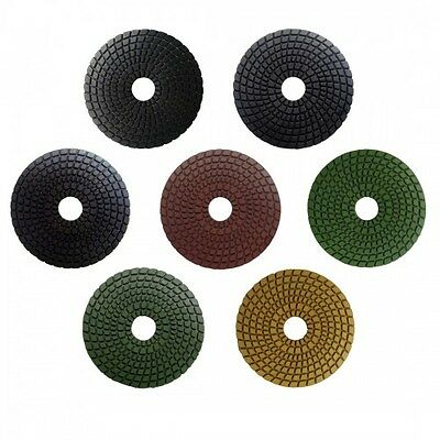 Weha 4 Inch Trilogy 3 Step Dark Quartz Diamond Polishing Pads Wet//Dry Full Set