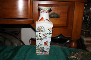Chinese 4 Sided Vase-Painted Scenes Men Horses Water-Red Stamped Bottom