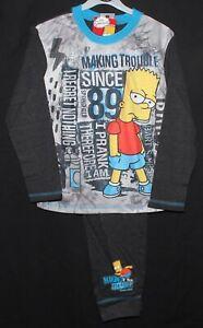 Boys The Simpsons Bart Simpson Long Pyjamas set Age 5-6 7-8 9-10 11-12 year Grey