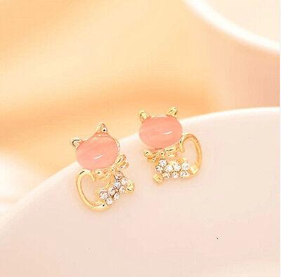 Fashion Women Cute Cat's Eye Head Crystal Rhinestone Gold Lady Ear Stud Earrings