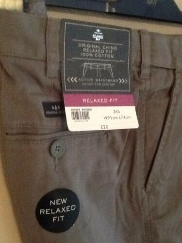 MENS GREY SMOKE CHINO RELAXED FIT TROUSERS BY ATLANTIC BAY//BHS 34S BNWT
