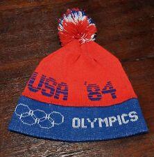 Vintage 1984 Olympics USA Ski Pom Pom Tassle Winter Toque Knit Beanie Hat Rare