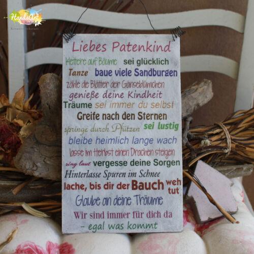 Holzschild Geschenk Dekoration HandsArt Liebes Patenkind Wir Shabby Style