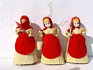 3-Vintage-Corn-Husk-Angel-Christmas-Tree-Ornaments-Carolers-Milkmaid-Gardner-Red