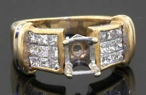 JC designer signed heavy 14K gold 1.08CTW diamond cluster ring semi-mounting