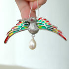 #P412 Pendentif Broche Oiseau Argent Massif 925 Perle Rubis & Email
