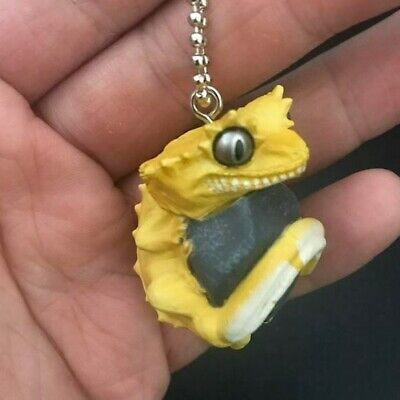 Qualia Rolling Stone Leopard gecko Lizard PVC mini figurine figure keychain C