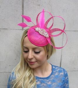 d553dacf7adf Hot Pink Rose Gold Feather Pillbox Hat Fascinator Races Hair Clip ...
