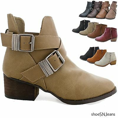 New Women Fashion Riding Boots Buckle Ankle Booties Chunky Block Heel Shoes