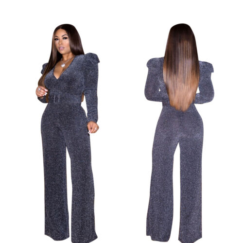 Women Shiny V Neck Long Sleeve Backless Wide Legs Casual Clubwear Party Jumpsuit