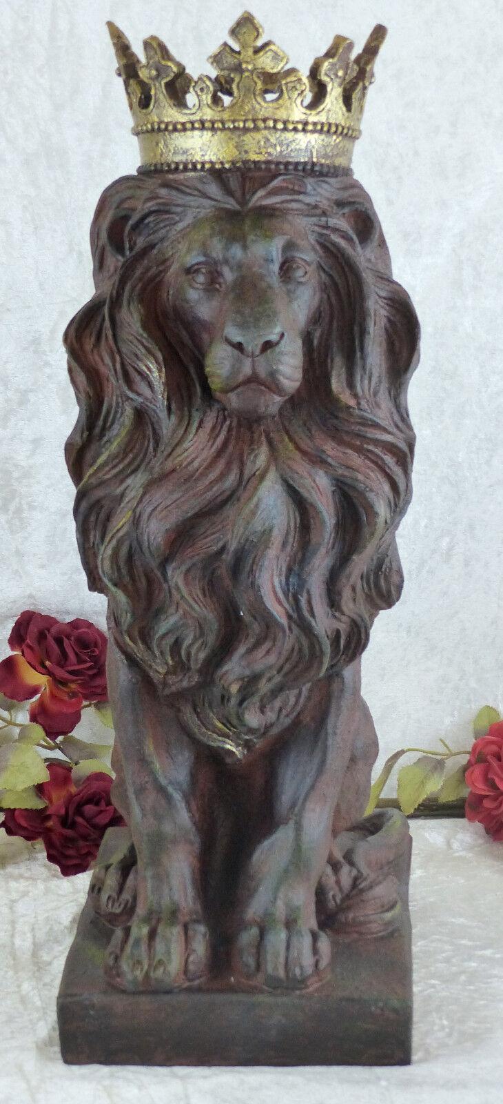 Roi le lion Statue sculpture personnage Tierfigur Lion Félin Décoration Statue lion Jardin personnage fea245