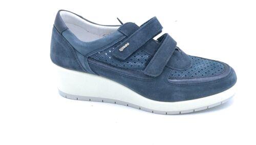 Cuir Daim 77590 amp; Jeans Fermeture Bleu En Igi Baskets Sangle Co Compensé 8aFwxYw
