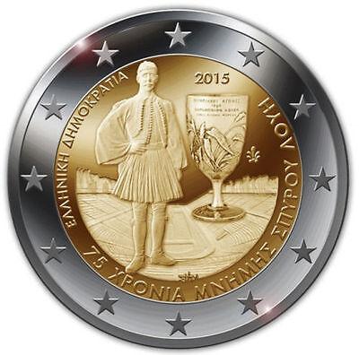 "2015 Greece € 2 Euro Uncirculated UNC Coin /""Spyridon Louis 75 Years/"""