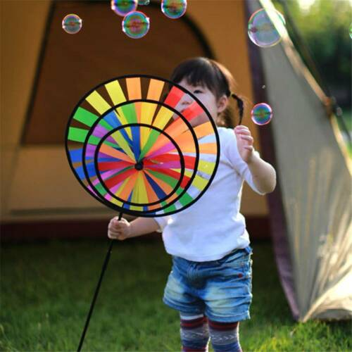 Colorful Rainbow Wind Spinner Pinwheel Round Windmill Home Garden Party Decor