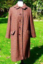 1950's Vintage HARRIS TWEED M-Lg Women's Overcoat Orange Gray Yellow 100% Wool
