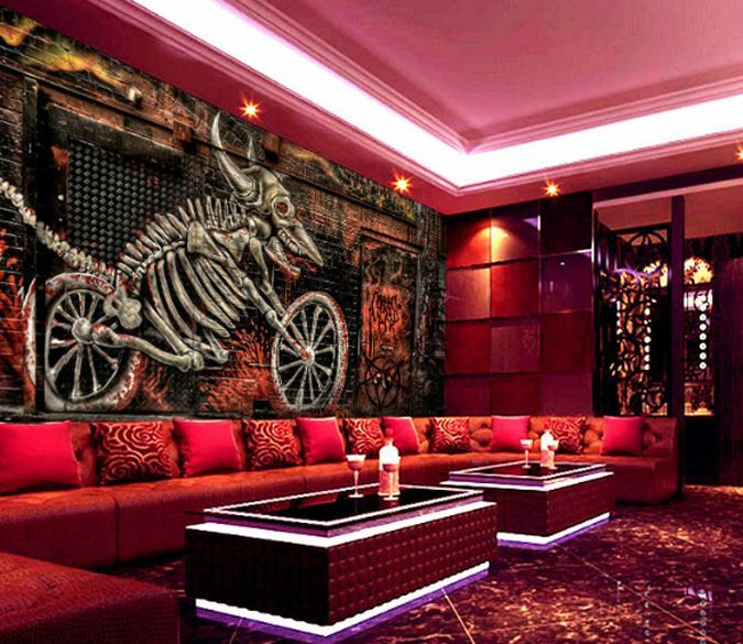 3D Skeleton Bicycle Graffiti Wall Paper Wall Print Decal Wall Deco AJ WALLPAPER