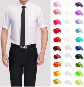 Men-039-s-Necktie-Slim-Narrow-Tie-Polyester-Formal-Suit-Necks-Wear-Solid-Pattern-New