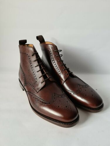 Loake Design UK 9 F Marrón Cuero de grano George Brogue Botas Original En Caja