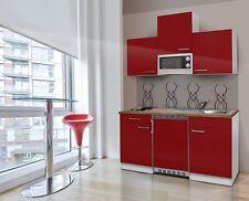 respekta Cuisine Équipée Bloc cuisine Unitaire Mini cuisine 150 cm Blanc Rouge