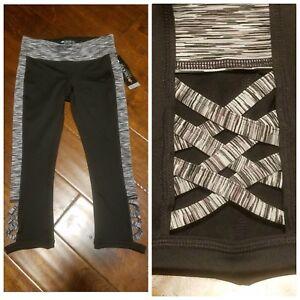 New IDEOLOGY Black & Gray Capri Yoga Pants Leggings Women's Size XS XSmall $49