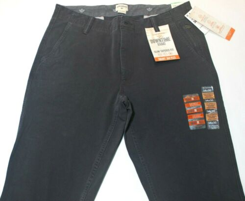 Men Dockers Downtime Khaki Charcoal Gray Slim Tapered Fit Smart 360 Flex Pants