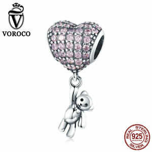 VOROCO-925-Sterling-Silver-Full-Pave-Heart-Charms-With-Cute-Bear-Dangle-Charm