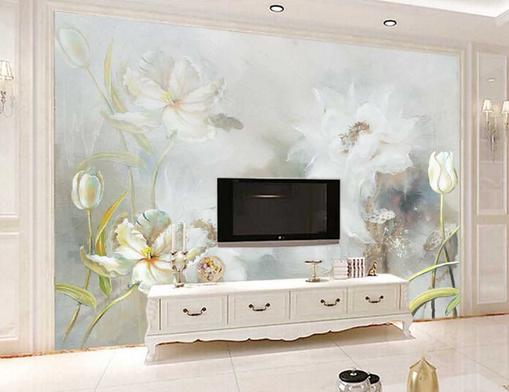 3D Ölgemälde Weißer Lotus Teich 45 Tapeten Mauer Foto Familie Tapete Wandgemälde