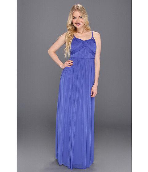 JESSICA SIMPSON Gathered Spaghetti Strap Long Gown Maxi Dress Royal bluee Size 12
