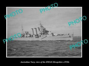 OLD-LARGE-HISTORIC-PHOTO-OF-AUSTRALIAN-NAVY-SHIP-HMAS-SHROPSHIRE-c1950