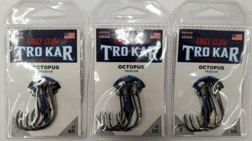 3-Trokar Octopus TK503-5//0 Heavy Duty Hooks Saltwater 3 Pack Value!! Big Game