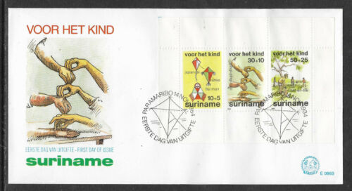 SURINAM 1984 WELFARE Kites Hands Cricket Souvenir Sheet FDC