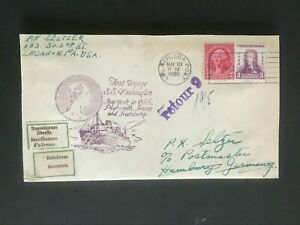 SS WASHINGTON 1933 First Voyage US.GER.SEA POST cancel nice cancels & cachets