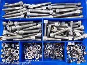 100-Teile-Edelstahl-Schrauben-DIN-912-Muttern-Box-M8-Rostfreier-Stahl
