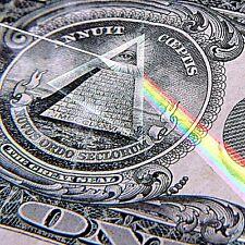 """2.5"""" Dollar Bill, sticker/ decal. All seeing eye pyramid, Pink Floyd Rainbow 420"""