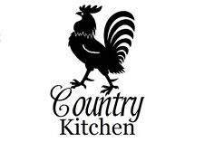 Country Kitchen w rooster Decal Sticker for Glass Block Window Kitchen Wall door