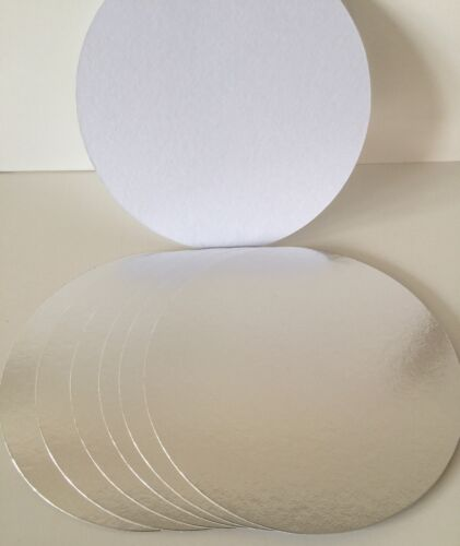 """5 x 8/"""" Inch silver ROUND CUT EDGE THIN CAKE CARDS Boards SUPPORT Culpitt CRAFT"""