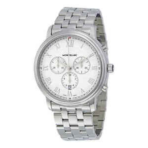 14c083e48c9 Image is loading MontBlanc-Tradition-Chronograph-White-Dial-Men-039-s-