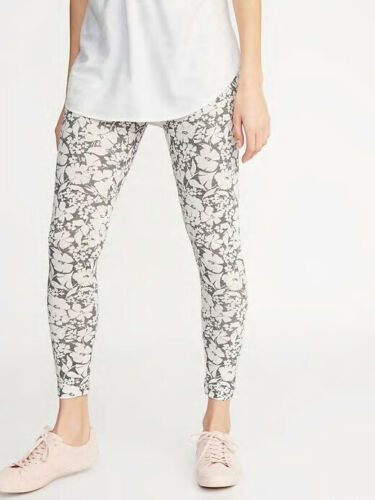 NWT Old Navy Women/'s Mid-Rise Printed Jersey Leggings Pants Gray Floral M L XL