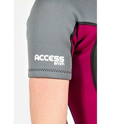 Black Purple Hyperflex Women/'s Access Shorty Spring Suit 2mm Wetsuit Back Zip