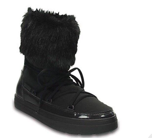NEW Nwt Crocs Womens Lodge Point Lace Boot Black Sz:10