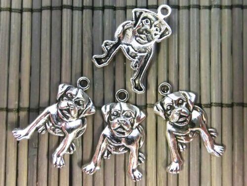 10 Anhänger Charms Hund Farbe antiksilber 26x18mm #S112