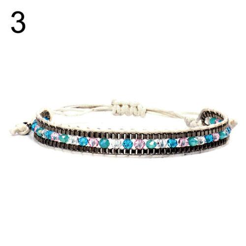 Aurora Borealis /_ bohème Graine Perles Cire Corde Bracelet Fait Main Tressé Tissé Amitié juif